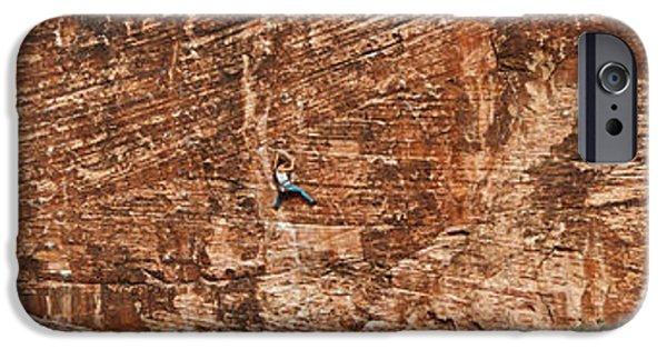 Red Rock iPhone Cases - Rock Climber Climbing A Rock, Red Rock iPhone Case by Panoramic Images