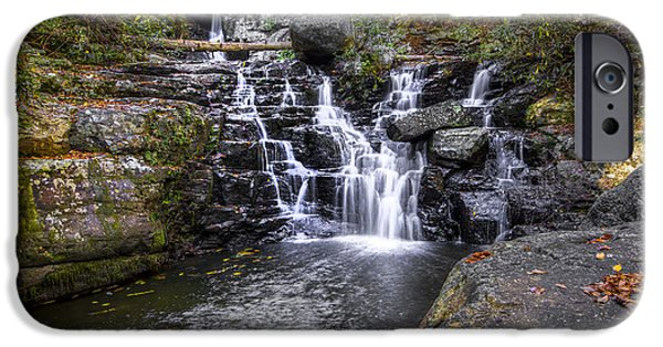 Oak Creek iPhone Cases - Rock Creek Falls iPhone Case by Debra and Dave Vanderlaan