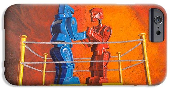 Socks iPhone Cases - Rock em Sock em Robots iPhone Case by Karl Melton