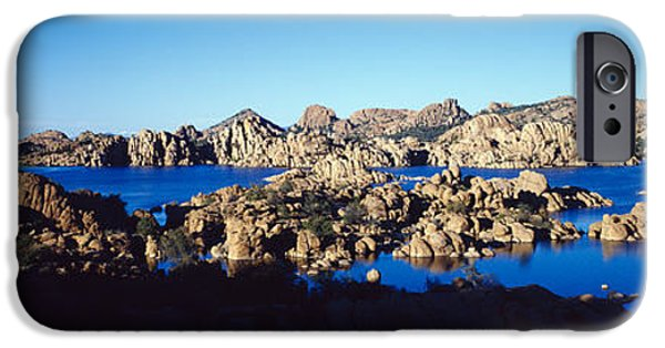 Prescott Arizona iPhone Cases - Rock Formations At Lake, Granite Dells iPhone Case by Panoramic Images
