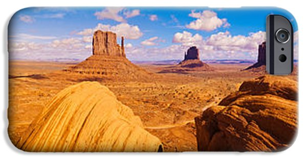 Red Rock iPhone Cases - Rock Formations At Monument Valley iPhone Case by Panoramic Images