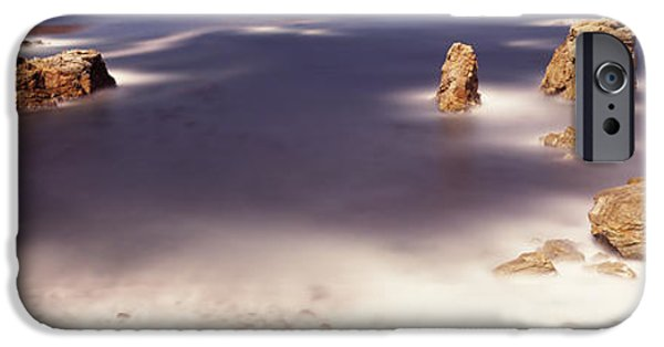 Big Sur California iPhone Cases - Rock Formations At The Coast, Moonlight iPhone Case by Panoramic Images