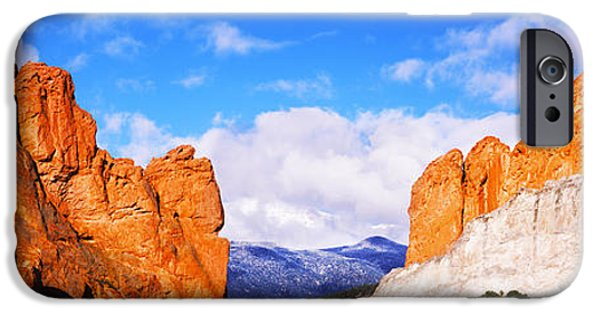 Garden Scene iPhone Cases - Rock Formations, Garden Of The Gods iPhone Case by Panoramic Images