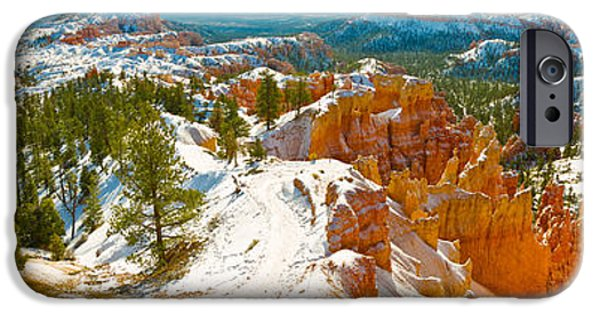 Red Rock iPhone Cases - Rock Formations In A Canyon, Bryce iPhone Case by Panoramic Images