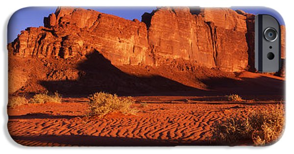 Jordan iPhone Cases - Rock Formations In A Desert, Jebel Um iPhone Case by Panoramic Images