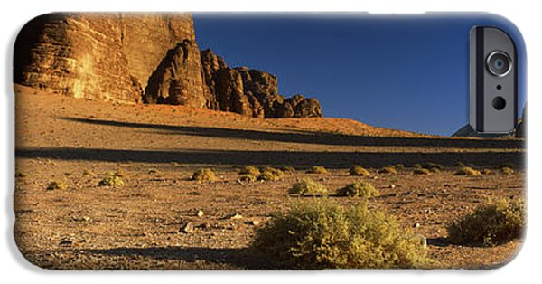 Jordan iPhone Cases - Rock Formations In A Desert, Wadi Um iPhone Case by Panoramic Images
