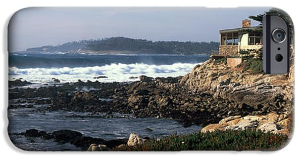 Buildings By The Ocean iPhone Cases - Rock Formations In The Sea, Carmel iPhone Case by Panoramic Images