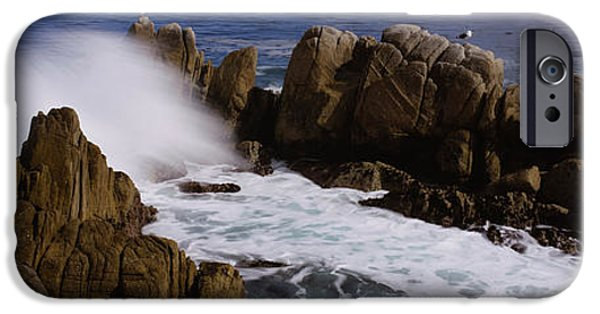 Two Waves iPhone Cases - Rock Formations In Water, Pebble Beach iPhone Case by Panoramic Images