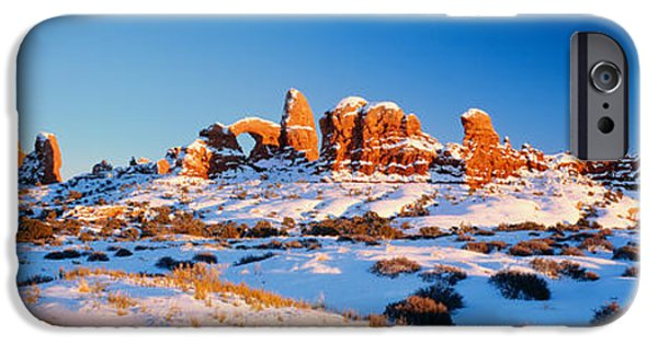 Winter Scene iPhone Cases - Rock Formations On A Landscape, Arches iPhone Case by Panoramic Images