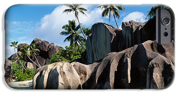 Getting Away From It All iPhone Cases - Rock Formations On The Beach, Anse iPhone Case by Panoramic Images