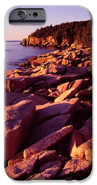 Maine iPhone Cases - Rock Formations On The Coast At Sunset iPhone Case by Panoramic Images