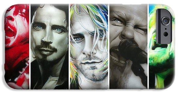 Celebrities Art Paintings iPhone Cases - Rock Montage I iPhone Case by Christian Chapman Art