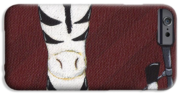 Rock N Roll Paintings iPhone Cases - Rock n Roll Zebra iPhone Case by Christy Beckwith
