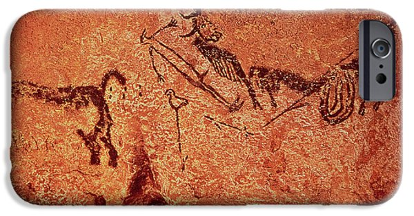 Bison Photographs iPhone Cases - Rock Painting Of A Hunting Scene, C.17000 Bc Cave Painting iPhone Case by Prehistoric