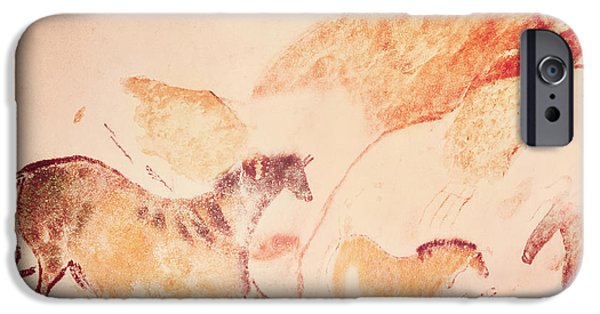 Movement iPhone Cases - Rock Painting Of Horses, C.17000 Bc Cave Painting iPhone Case by Prehistoric