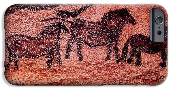 Prehistoric iPhone Cases - Rock Painting Of Tarpans Ponies, C.17000 Bc Cave Painting iPhone Case by Prehistoric