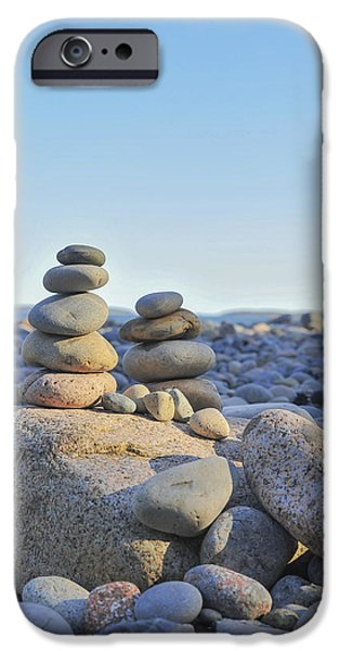 Maine Beach iPhone Cases - Rock Piles Zen Stones Little Hunters Beach Maine iPhone Case by Terry DeLuco