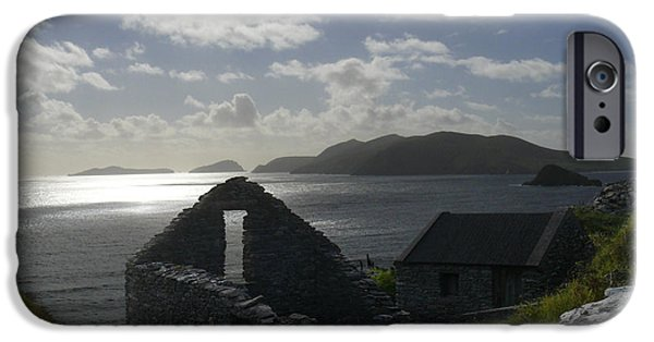Ruins Digital Art iPhone Cases - Rock Ruin by the Ocean - Ireland iPhone Case by Mike McGlothlen