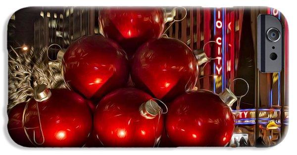 Christmas Eve Digital Art iPhone Cases - Rockefeller Center Cheer iPhone Case by Susan Candelario