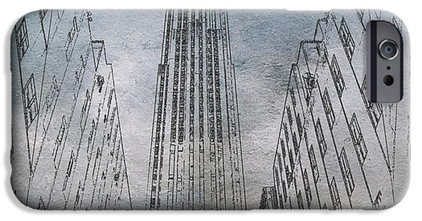 Business Digital iPhone Cases - GE Building Facade Sketch iPhone Case by Dan Sproul