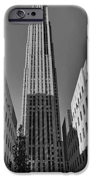 Crosswalk iPhone Cases - GE Building In Black And White iPhone Case by Dan Sproul