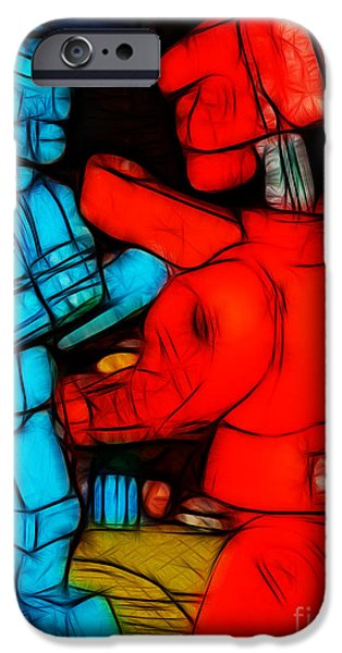 Rockem iPhone Cases - Rockem Sockem Robots - Color Sketch Style - version 1 iPhone Case by Wingsdomain Art and Photography