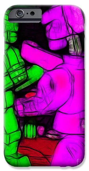 Rockem Sockem Robots - Color Sketch Style - version 2 iPhone Case by Wingsdomain Art and Photography
