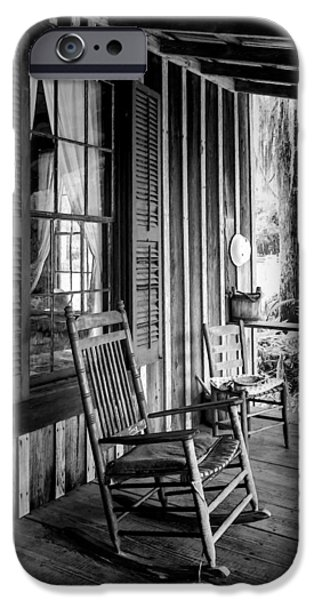 Ladder Back Chairs iPhone Cases - Rocker on the Veranda iPhone Case by Lynn Palmer