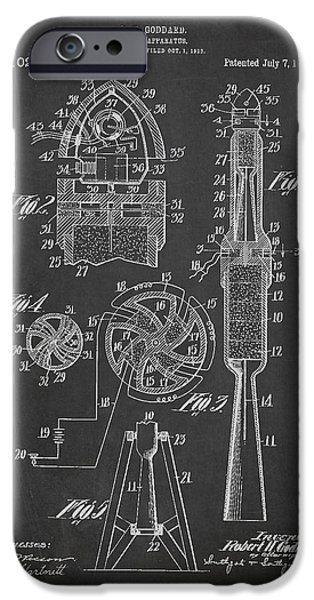 Rockets iPhone Cases - Rocket Apparatus Patent iPhone Case by Aged Pixel
