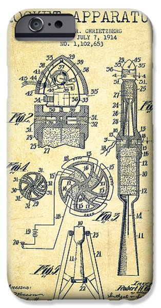 Rockets iPhone Cases - Rocket Apparatus Patent from 1914-Vintage iPhone Case by Aged Pixel