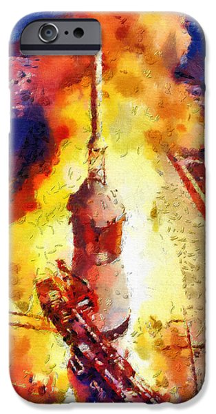 Outer Space Paintings iPhone Cases - Rocket launch iPhone Case by Magomed Magomedagaev