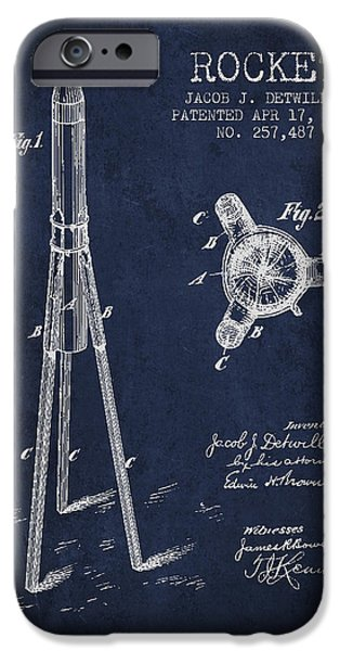 Spacecraft iPhone Cases - Rocket Patent Drawing From 1883 iPhone Case by Aged Pixel