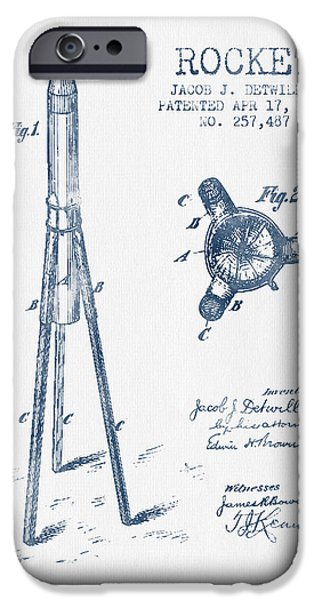 Rockets iPhone Cases - Rocket Patent Drawing From 1883 - Blue Ink iPhone Case by Aged Pixel