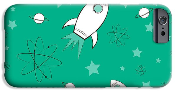 Atom iPhone Cases - Rocket Science Green iPhone Case by Amy Kirkpatrick