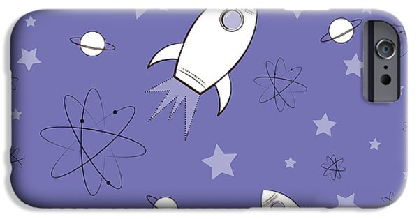 Atom iPhone Cases - Rocket Science Purple iPhone Case by Amy Kirkpatrick