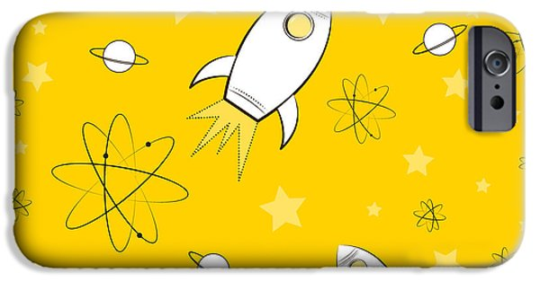 Atom iPhone Cases - Rocket Science Yellow iPhone Case by Amy Kirkpatrick