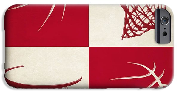 Dunk iPhone Cases - Rockets Ball And Hoop iPhone Case by Joe Hamilton