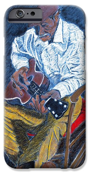 African-american Pastels iPhone Cases - Rockin Chair Blues iPhone Case by Charlie Black
