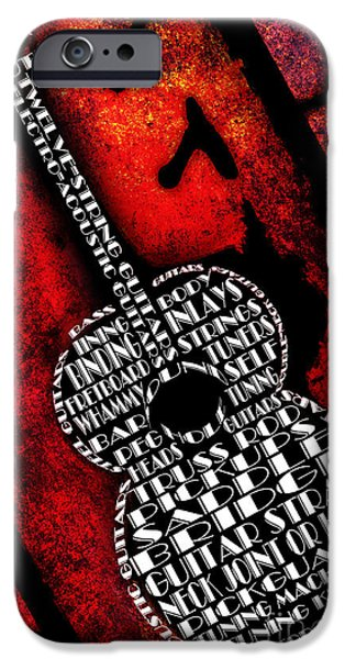 Components iPhone Cases - Rockin Guitar In Red Typography iPhone Case by Andee Design