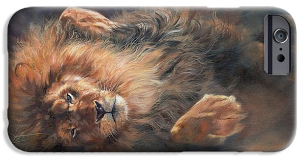 Lion Print iPhone Cases - Rocking and Rolling Part 2 iPhone Case by David Stribbling