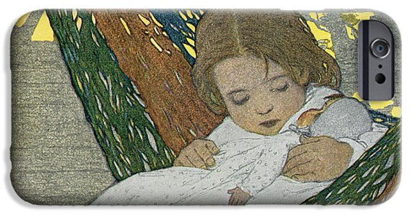 Dolls iPhone Cases - Rocking Baby Doll To Sleep iPhone Case by Jessie Willcox Smith