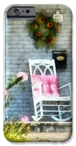 Rocking Chair With Pink Pillow iPhone Case by Susan Savad