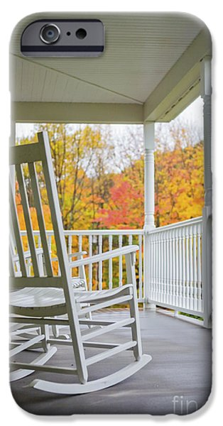 Rocking Chairs Photographs iPhone Cases - Rocking chairs on a porch in Autumn iPhone Case by Diane Diederich