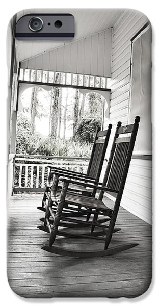 Sun Porch iPhone Cases - Rocking Chairs on Porch iPhone Case by Rebecca Brittain