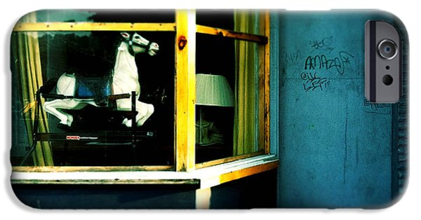 Toy Store Photographs iPhone Cases - Rocking Horse in Window iPhone Case by Amy Cicconi