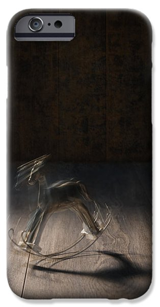 Childhood iPhone Cases - Rocking Horse With Blur iPhone Case by Amanda And Christopher Elwell