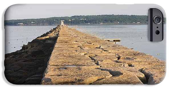 Down East iPhone Cases - Rockland Breakwater Lighthouse Coast of Maine iPhone Case by Keith Webber Jr