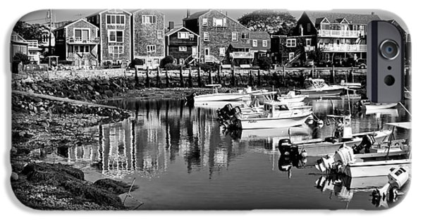 Rockport Ma iPhone Cases - Rockport Harbor - bw iPhone Case by Nikolyn McDonald