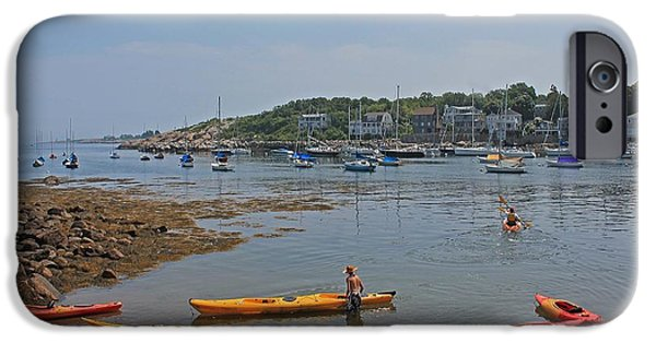 Rockport Ma iPhone Cases - Rockport Harbor Kayak Rentals iPhone Case by Michael Saunders