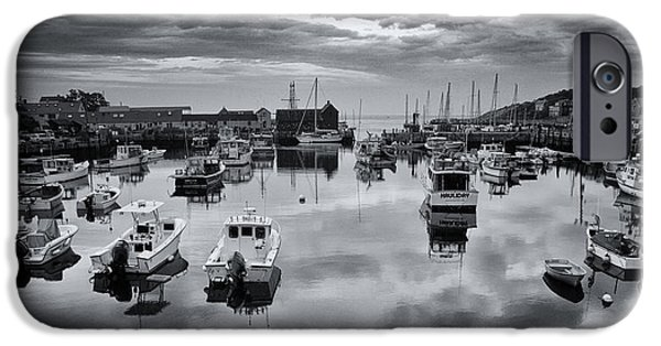 Fishing Shack iPhone Cases - Rockport Harbor View - BW iPhone Case by Stephen Stookey